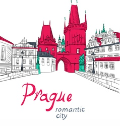 Charles bridge in prague vector