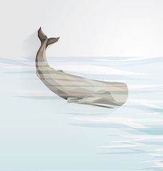3d origami low polygon whale vector image vector image
