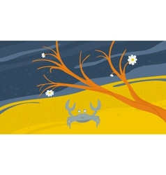 Crab on the shore vector