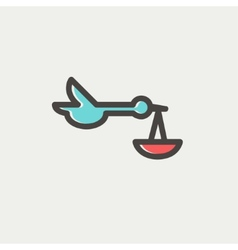 Baby basket and stork thin line icon vector
