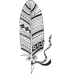 Ethnic feather with tape vector