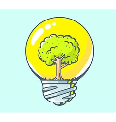 Yellow lightbulb with green tree inside o vector