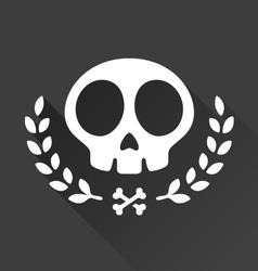 Skull laurel vector image