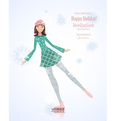 Invitation card with cute girl skating on ice for vector