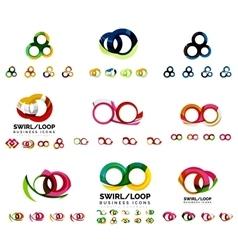 Set of company logotype branding designs swirl vector