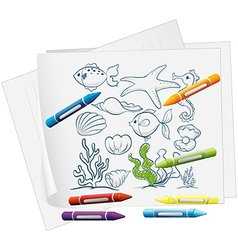 A paper with a drawing of sea creatures and vector image vector image
