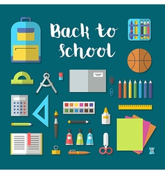 Back to school flat design modern icon set vector image vector image