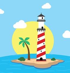 Beach lighthouse seashore view vector