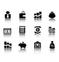 Black financial icons vector image vector image