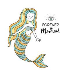 Cute little mermaid under the sea vector