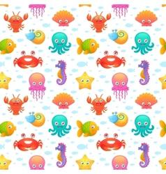 Cute sea animals seamless pattern vector image