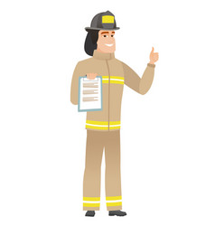 Firefighter with clipboard giving thumb up vector