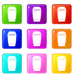 Flip lid bin icons 9 set vector