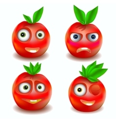 Fruit icons with emotions vector image vector image