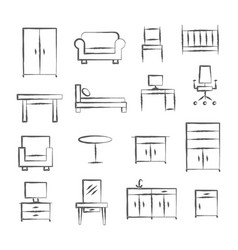 Furniture doodle icons vector