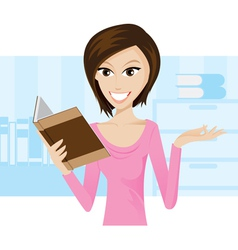 girl book vector image