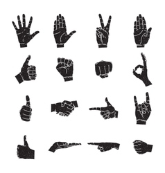 Hand icon collection silhouette vector image vector image