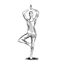 Hand sketch woman practicing yoga vector