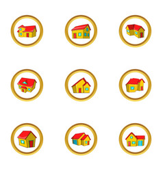 House collection icon set cartoon style vector
