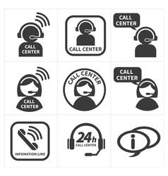 Icon set call center vector