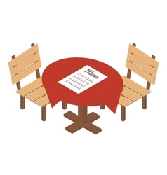 Isometric table in cafe icon vector