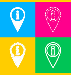 map pointer with information sign four styles of vector image