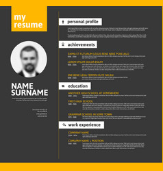 Minimalist cv resume template - yellow black vector