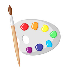 paintbrush and palette of paints vector image