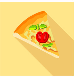pizza with tomatoes and basil icon flat style vector image