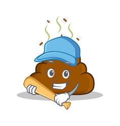 Playing baseball poop emoticon character cartoon vector