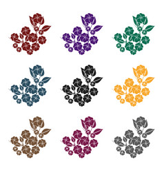 Sakura flowers icon in black style isolated on vector