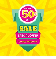 Sale banner design discount 50 vector