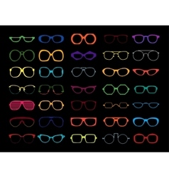 set of colored glasses Retro geek vector image vector image