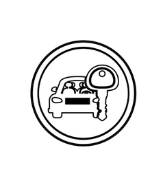Silhouette circular border with car and key vector