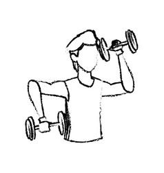 Sketch man training dumbbell gym design vector