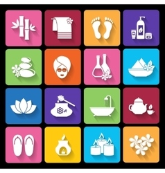 Spa icons in flat style vector image vector image