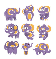 Stylized elephant with polka-dotted pattern set of vector