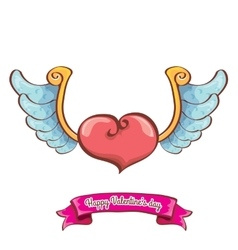 Valentines day pink heart with angel wings vector
