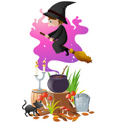 Witch with magic broom and brew vector
