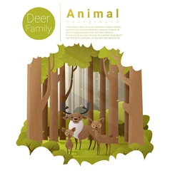 Forest landscape background with deers vector