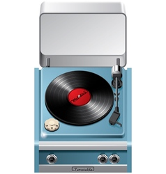 Vintage turntable with open lid vector