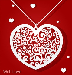 Openwork heart applique paper on red background vector image