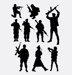 Army military soldier and police silhouette vector