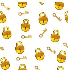 Cartoon seamless pattern gold lock padlock and key vector