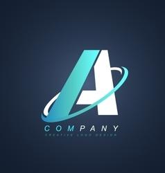 Letter a blue white logo icon design vector