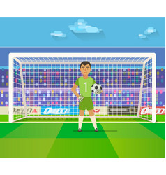 Soccer goalkeeper keeping goal on arena vector