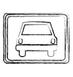 monochrome sketch with automobile front view in vector image