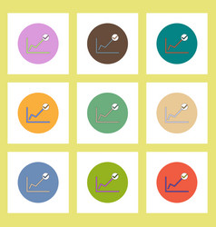 Flat icons set of progress statistics and check vector