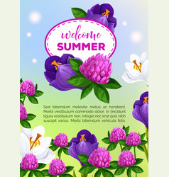 Summertime greeting card of summer flowers vector