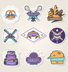 bakery stickers set vintage style vector image